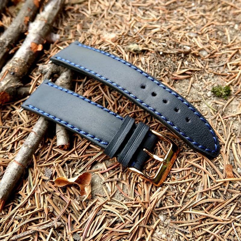 Кожаный ремешок для часов Watchband Double black leather