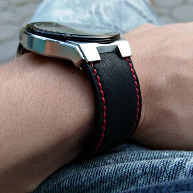 Шкіряний ремінець для годинника Watchband Contrast black leather