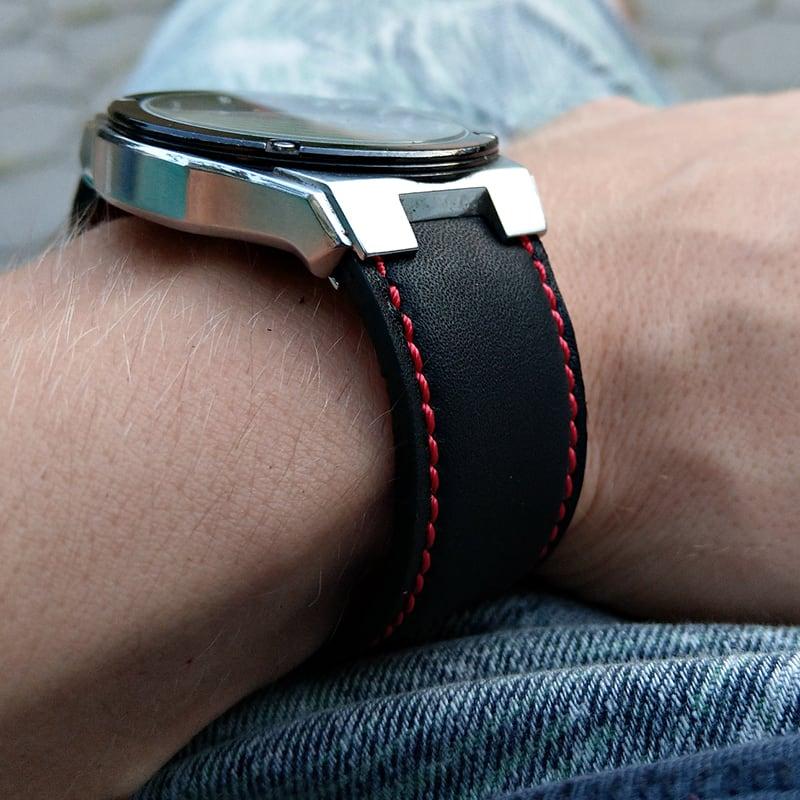 Кожаный ремешок для часов Watchband Contrast black leather