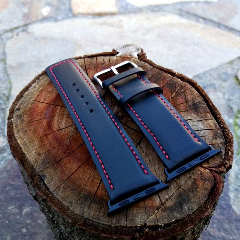 Шкіряний ремінець для Apple Watch 42 black leather