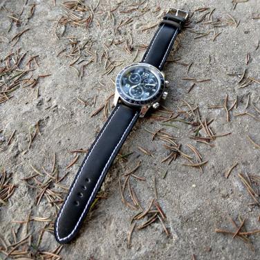 Ремінець для годинника натуральна шкіра Watchband Рattern black leather