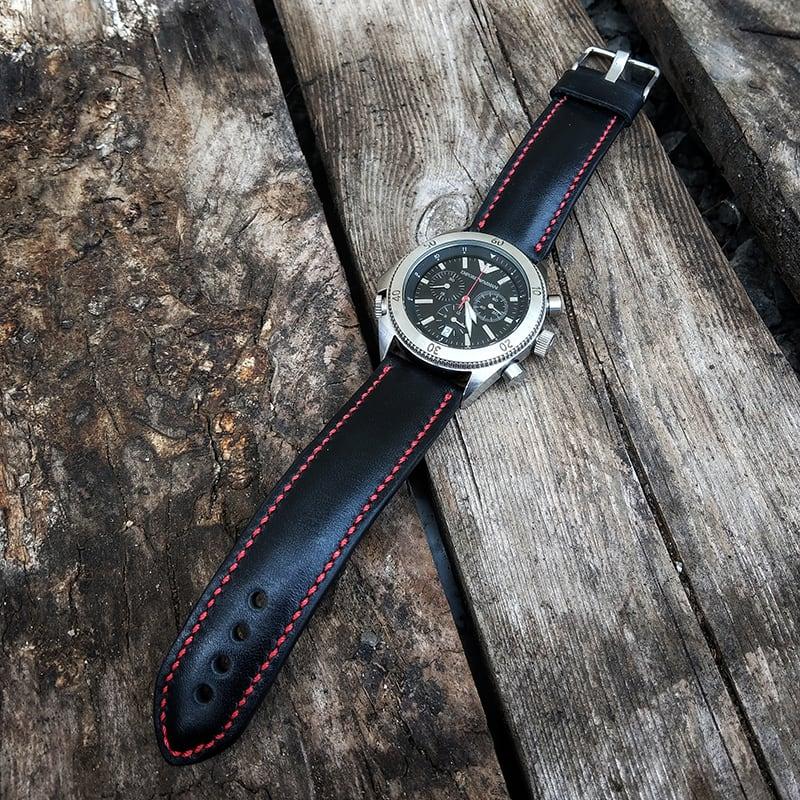 Ремінець для годинника Black Red vs leather