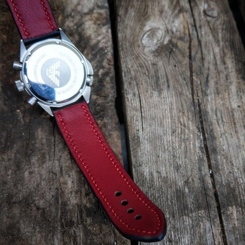 Ремешок для часов Black vs Red leather