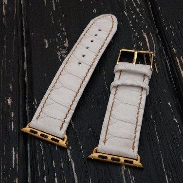 Элегантный кожаный ремешок для Apple Watch Gray leather