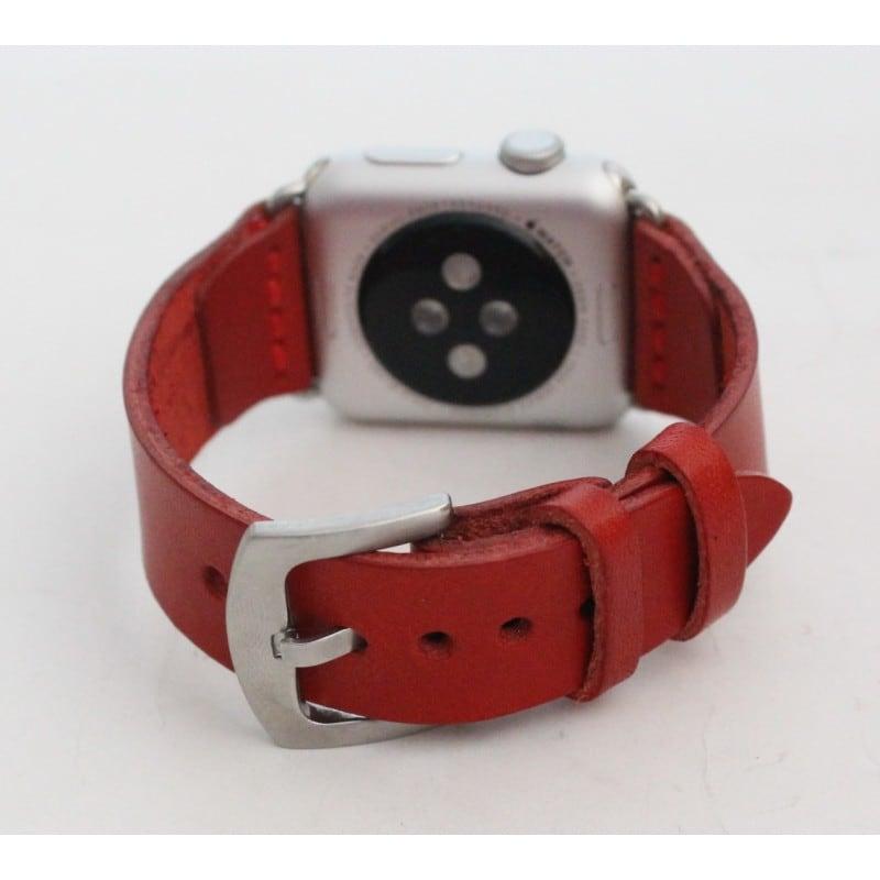 Кожаный ремешок для Apple Watch 38-42 Trend red leather