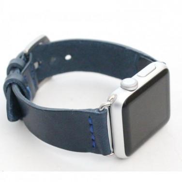Шкіряний ремінець для Apple Watch 38-42 Navу blue leather