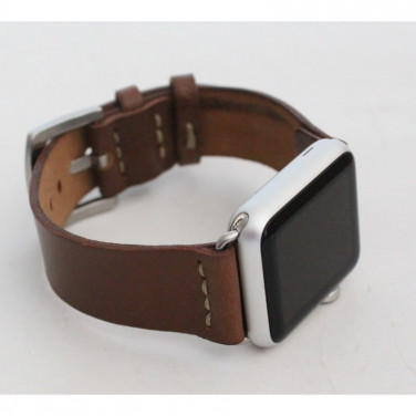 Кожаный ремешок для Apple Watch 40-44 Brevity brown leather