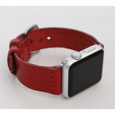 Кожаный ремешок для Apple Watch 40-44 Trend red leather