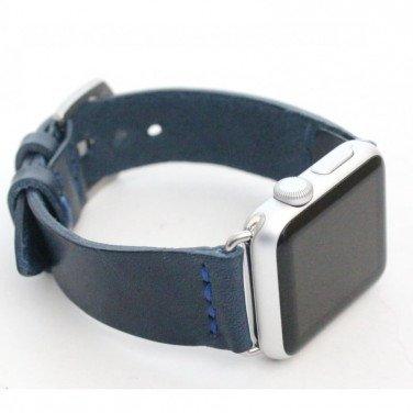 Шкіряний ремінець для Apple Watch 40-44 Navу blue leather