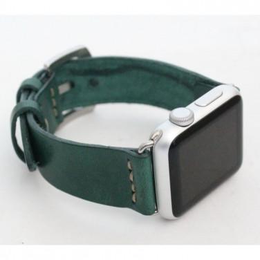Кожаный ремешок для Apple Watch 38-42 Emerald green leather