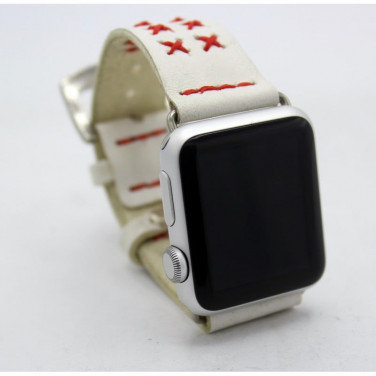 Шкіряний ремінець для Apple Watch 38-42 Red Cross white leather