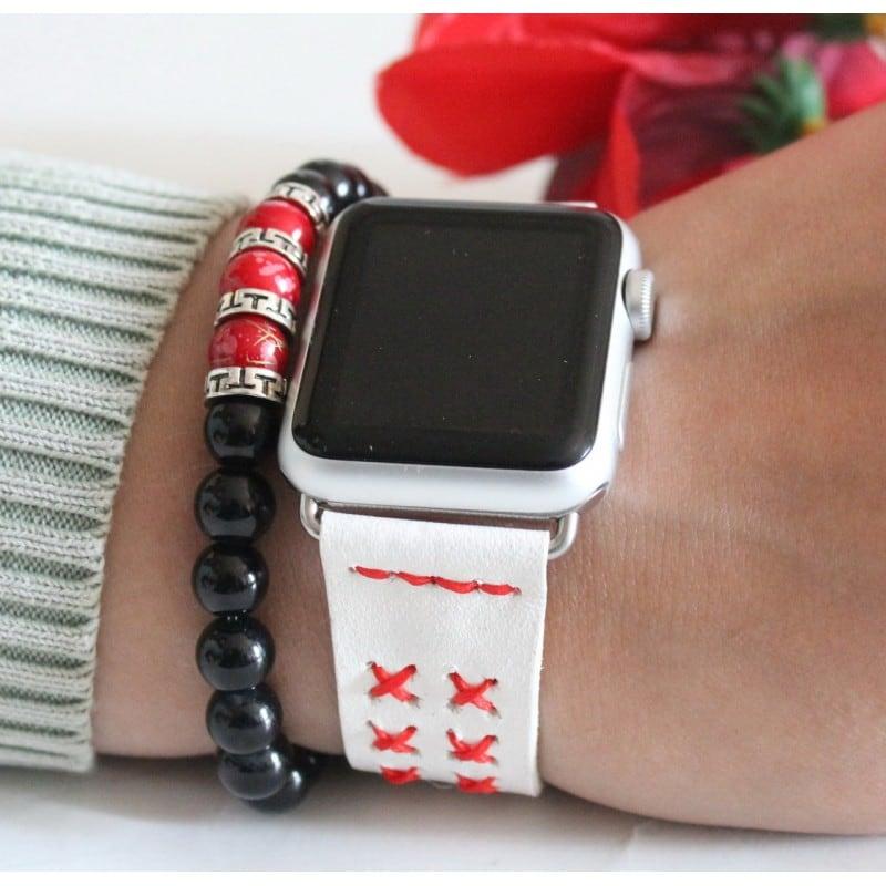 Кожаный ремешок для Apple Watch 38-42 Red Cross white leather