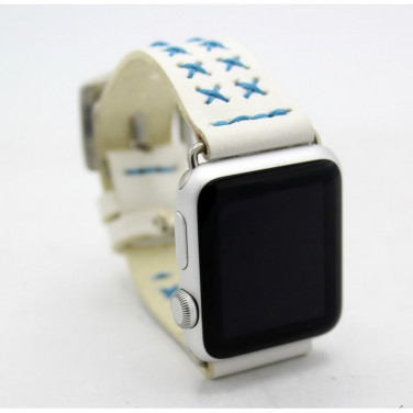 Кожаный ремешок для Apple Watch 38-42 Blue Cross white leather