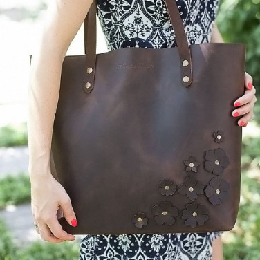 Сумка жіноча Tote Flowers brown leather