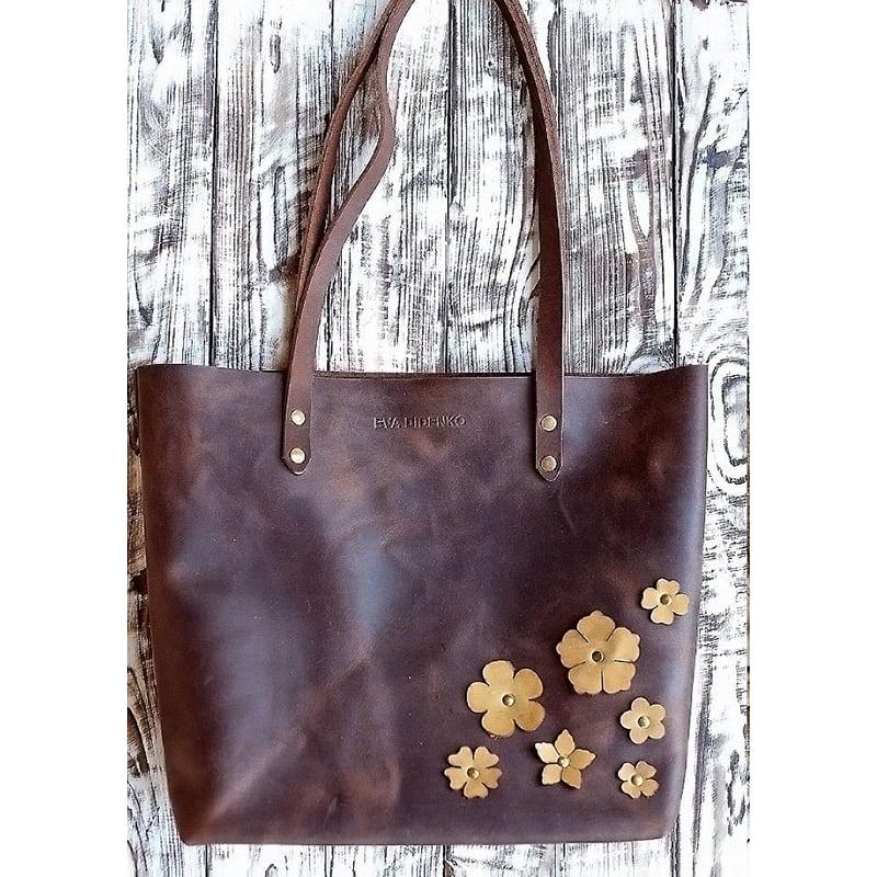 Сумка жіноча Tote Flowers brown leather