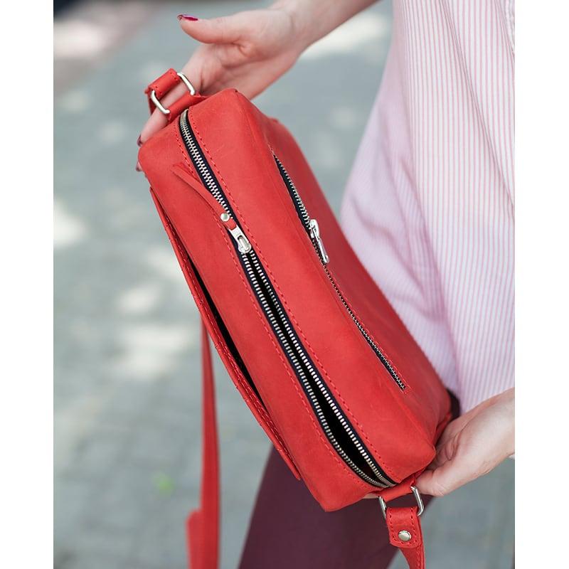 Жіноча шкіряна сумка Saddle bag red leather