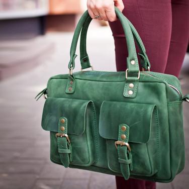 Сумка женская Slouchy satchel green leather