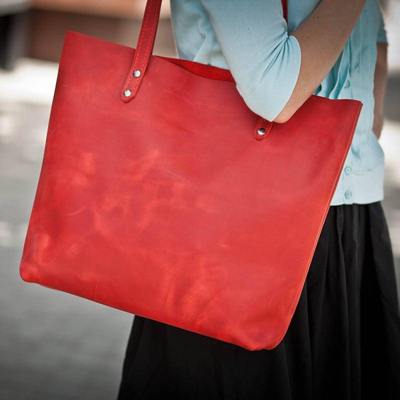 Сумка женская кожаная Shopper red leather