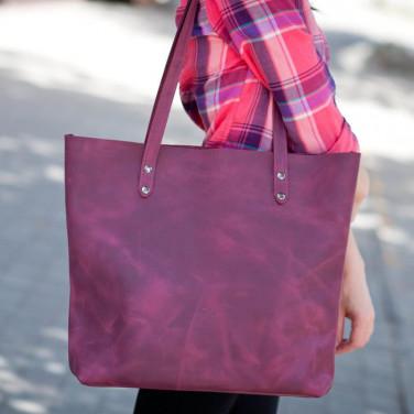Сумка женская кожаная Shopper vinous leather