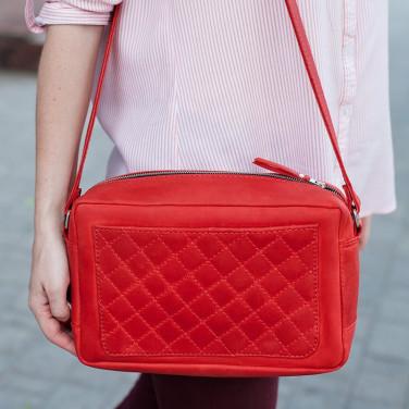 Женская кожаная сумка Saddle bag red leather