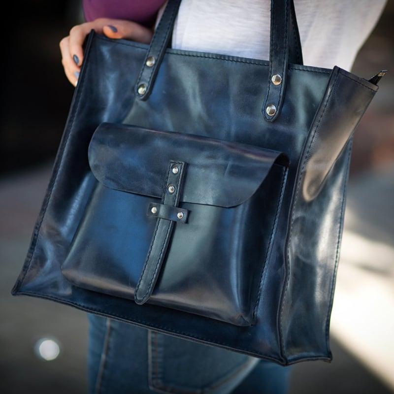 Сумка женская Tote bag blue leather