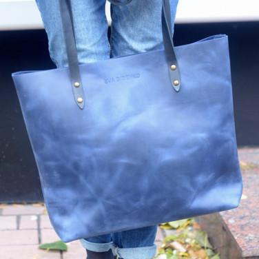 Сумка женская кожаная Shopper blue leather