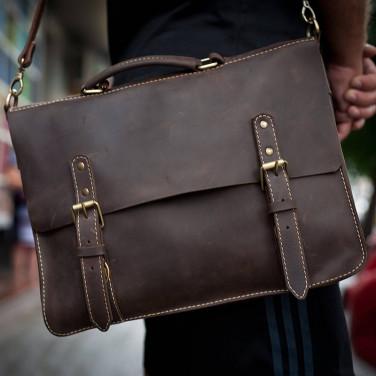 Сумка женская кожаная Satchel brown leather