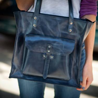 Сумка жіноча Tote bag blue leather