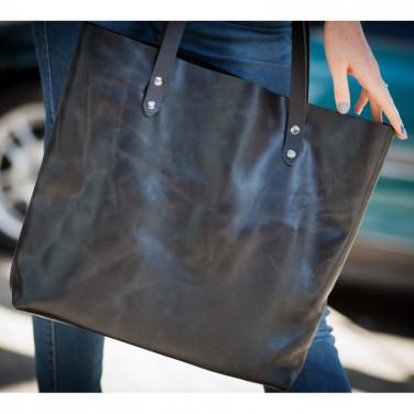 Сумка жіноча шкіряна Shopper black leather