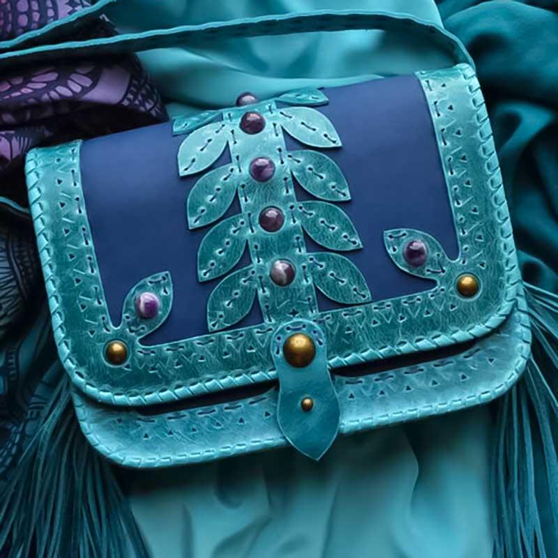 Женская сумка Saddle Bag Sea Вreeze blue leather