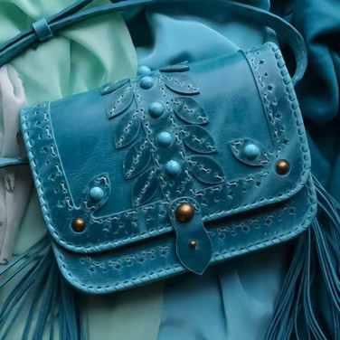 Жіноча сумка Saddle Bag Lagoon blue leather