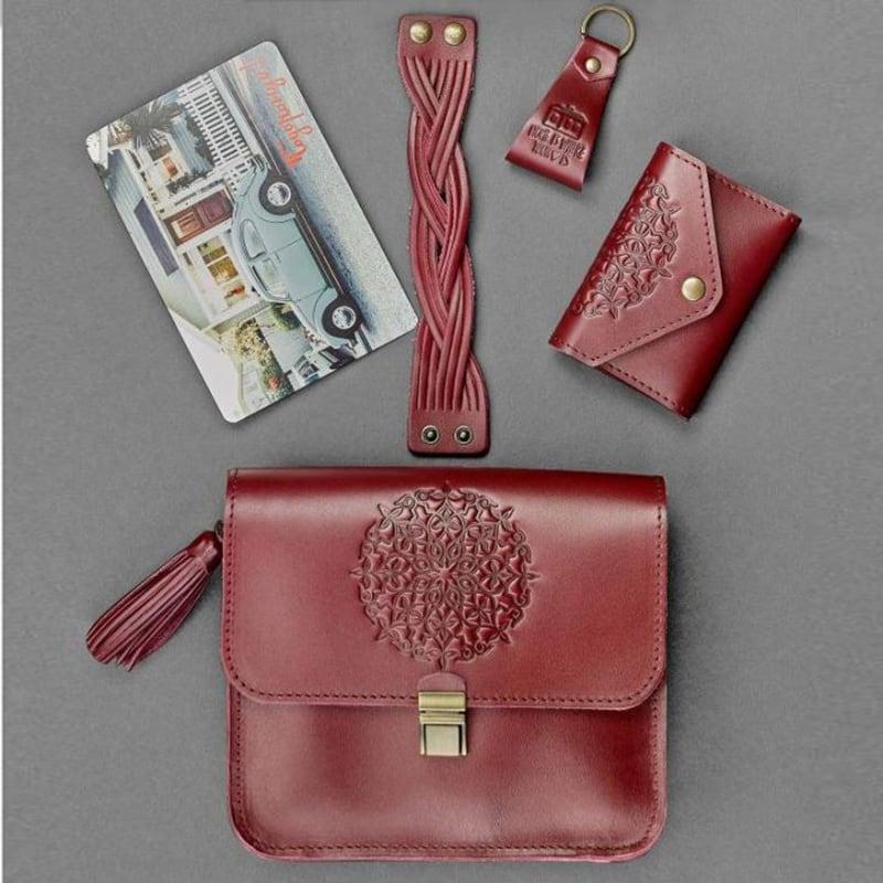 Сумка жіноча набір аксесуарів Mandala Vinous Leather