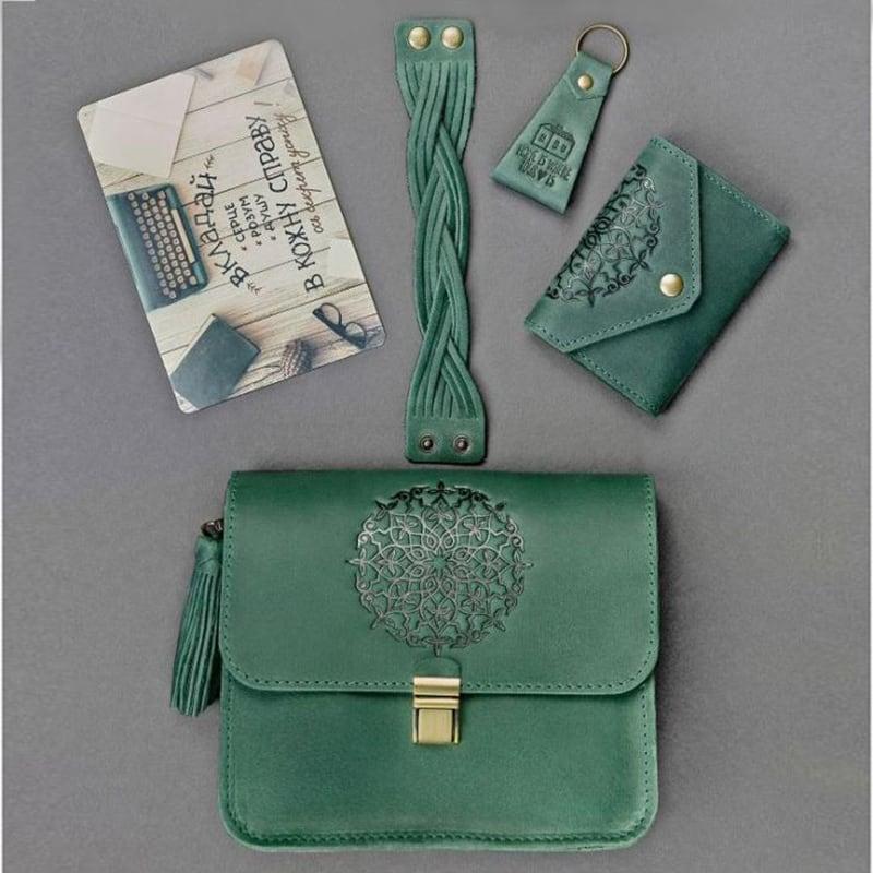 Женская кожаная сумка набор 3 в 1 Mandala Green Leather