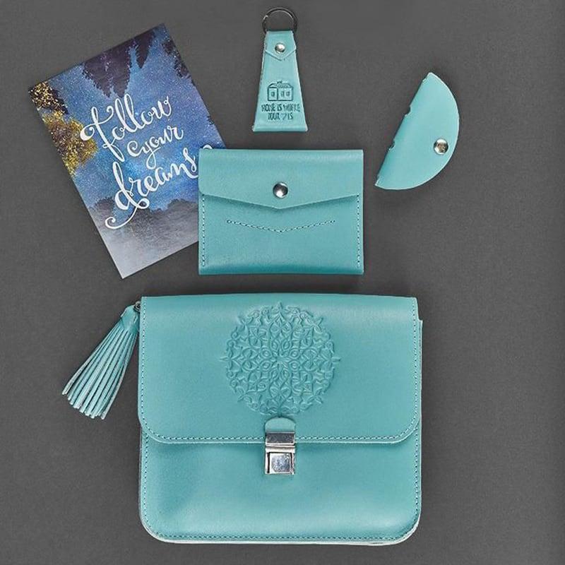Сумка жіноча в наборі аксесуарів Mandala Turquoise Leather