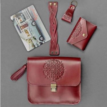 Сумка женская набор аксессуаров Mandala Vinous Leather