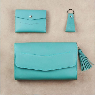 Жіноча шкіряна сумка в наборі 3 в 1 Clutch Turquoise Leather