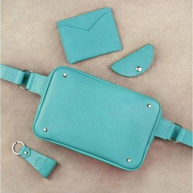 Жіноча сумка на пояс в наборі 3 в 1 DropBag Turquoise Leather