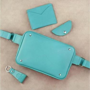 Женская сумка на пояс в наборе 3 в 1 DropBag Turquoise Leather