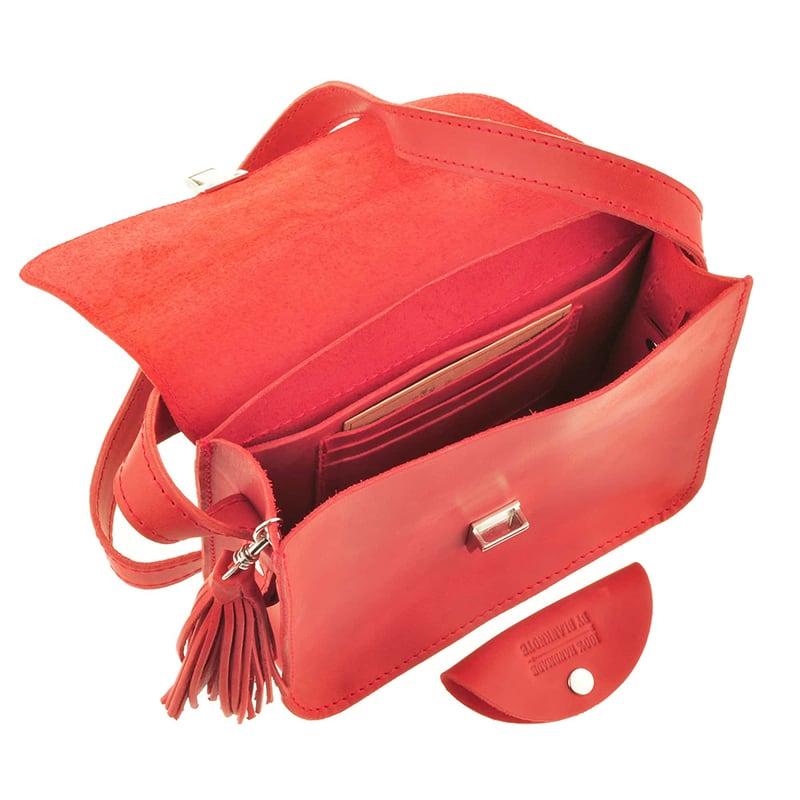 Сумка женская кожаная Mandala red leather