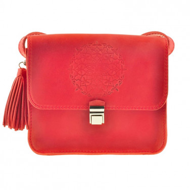Сумка жіноча шкіряна Mandala red leather