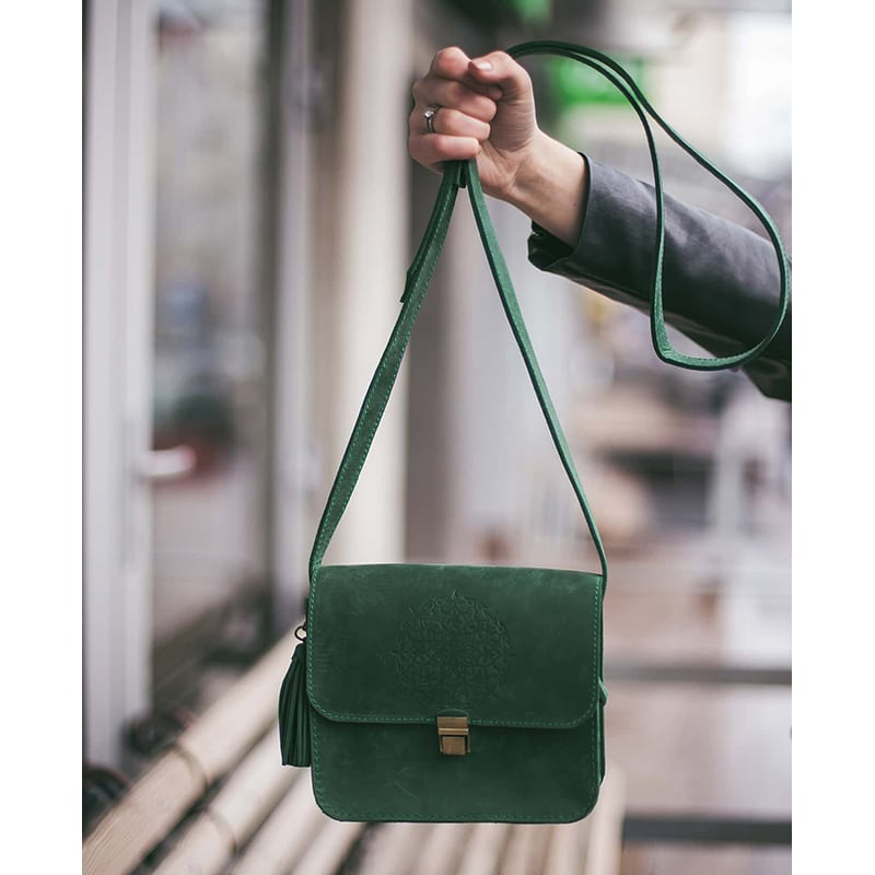 Сумка женская Mandala green leather