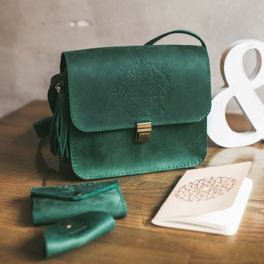 Сумка жіноча Mandala green leather