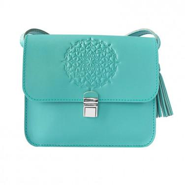 Кожаная сумка женская Mandala blue leather