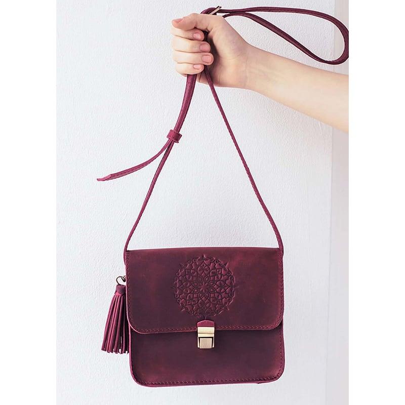 Шкіряна сумка жіноча Mandala vinous leather