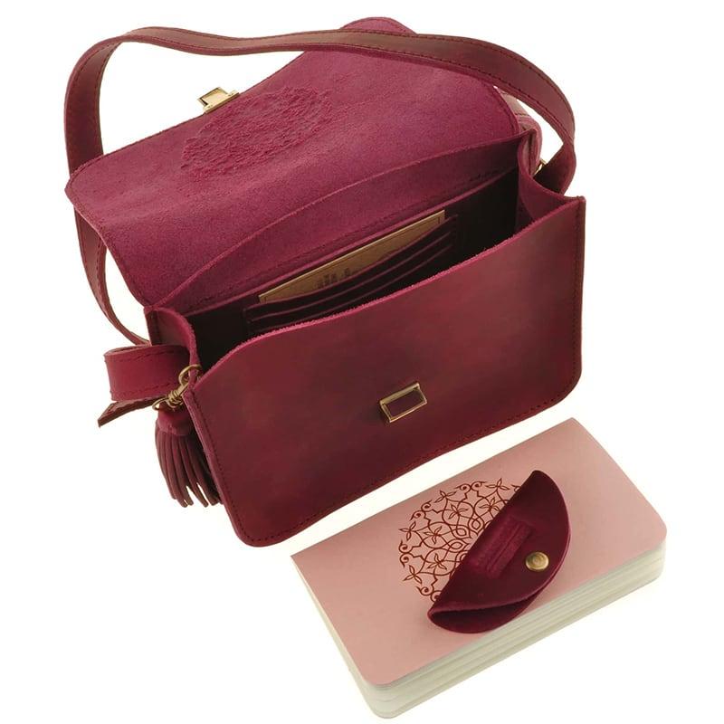 Кожаная сумка женская Mandala vinous leather
