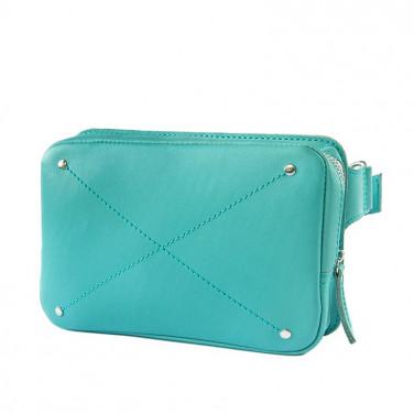 Сумка кожаная женская Fanny pack blue leather