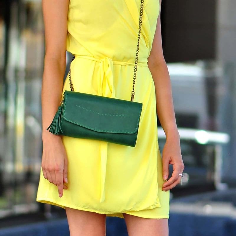 Сумка жіноча Combi Clutch green leather