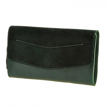 Шкіряна сумка жіноча Combi Clutch Velours green leather