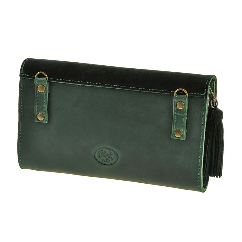 Кожаная сумка женская Combi Clutch Velours green leather