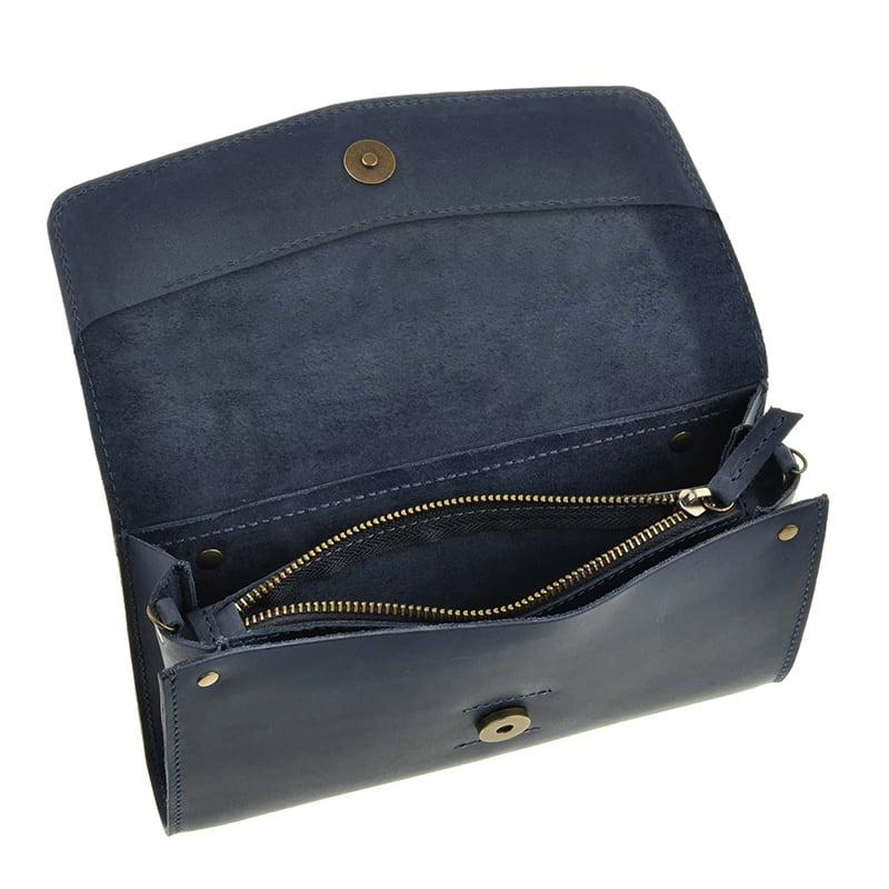 Кожаная сумка женская Combi Clutch dark blue leather